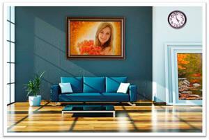 Картины из янтаря в интерьере. Портрет девушки