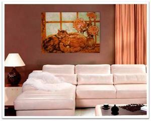 Картины из янтаря в интерьере. Кошки