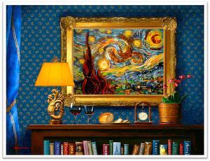 Картины из янтаря в интерьере. Ван Гог - Звездная ночь
